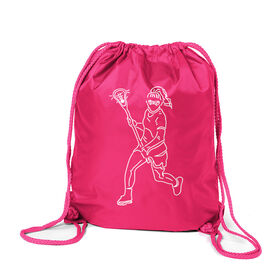 Girls Lacrosse Sport Pack Cinch Sack - Girls Lacrosse Player Sketch