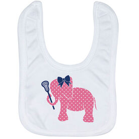 Girls Lacrosse Baby Bib - Lax Elephant with Bow