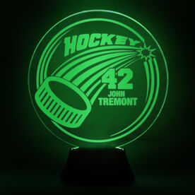 Hockey Acrylic LED Lamp Slap Shot With 2 Lines and Number