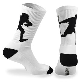 Guys Lacrosse Woven Mid Calf Socks - Player (White/Black)