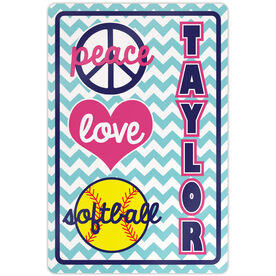 "Softball Aluminum Room Sign Personalized Peace Love Softball Chevron (18"" X 12"")"