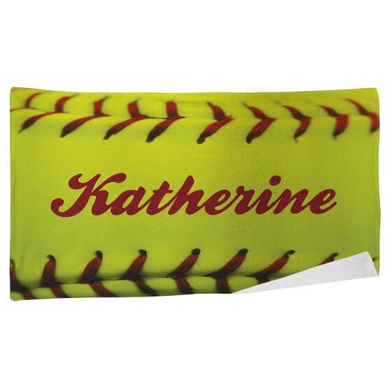 Softball Beach Towel Personalized Stitches