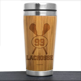 Bamboo Travel Tumbler Lacrosse Crossed Sticks with Personalized Number