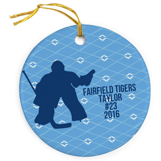Hockey Porcelain Ornament Goalie With Text