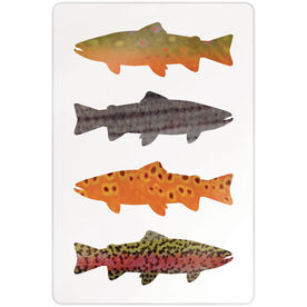 """Fly Fishing 18"""" X 12"""" Aluminum Room Sign - Fish Patterns"""