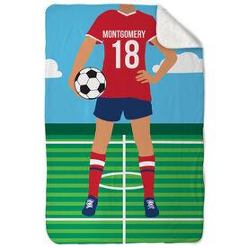 Soccer Sherpa Fleece Blanket - Female Soccer Player