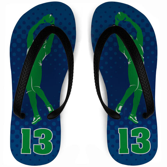 Football Flip Flops Personalized Perfect Catch