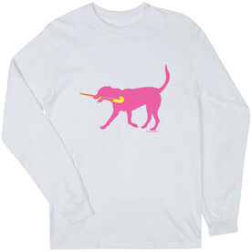 Field Hockey Tshirt Long Sleeve Fetch the Field Hockey Dog