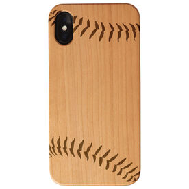 Softball Engraved Wood IPhone® Case - Stitches