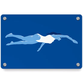 Swimming Metal Wall Art Panel - Swimmer Girl