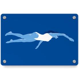 Swimming Metal Wall Art Panel - Swimmer Girl