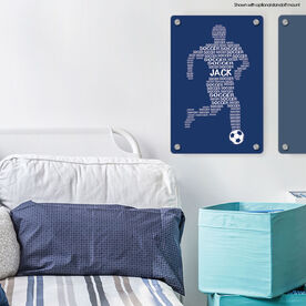 """Soccer 18"""" X 12"""" Aluminum Room Sign - Personalized Soccer Words Male"""