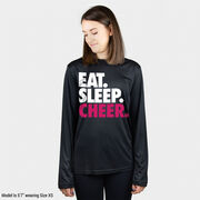 Cheerleading Long Sleeve Performance Tee - Eat. Sleep. Cheer.