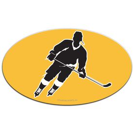 Hockey Oval Car Magnet Slanted Skater