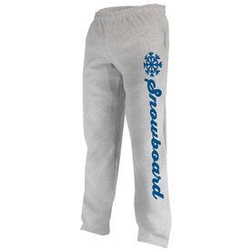 Snowboarding Fleece Sweatpants - Snowboard Script with Snowflake