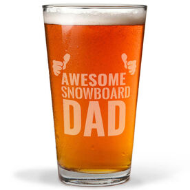 Snowboarding 16 oz. Beer Pint Glass Awesome Snowboard Dad