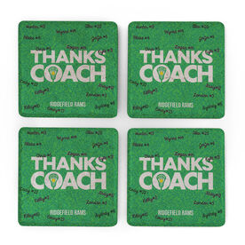 Girls Lacrosse Stone Coasters Set of Four - Coach (Autograph)