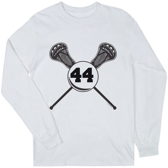 Guys Lacrosse Long Sleeve T-Shirt - Personalized Lacrosse Sticks Number