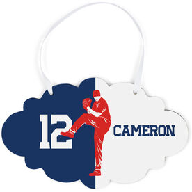 Baseball Cloud Sign - Personalized Pitcher Silhouette