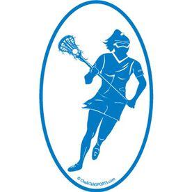 Lacrosse Girl Oval Car Magnet (Blue)