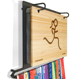 Engraved Bamboo BibFOLIO Plus Race Bib and Medal Display Runner Girl Stick Figure