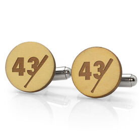 Baseball Engraved Wood Cufflinks Bat Number Slice