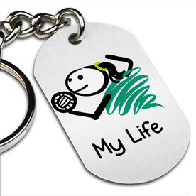My Life Volleyball (Female) Printed Dog Tag Keychain