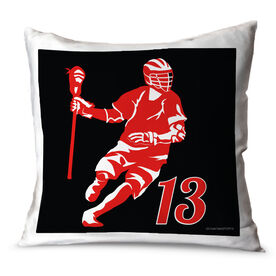 Guys Lacrosse Throw Pillow Personalized Dodger Silhouette