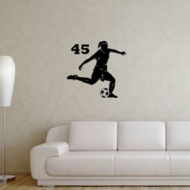 Personalized Soccer Player Girl Removable ChalkTalkGraphix Wall Decal