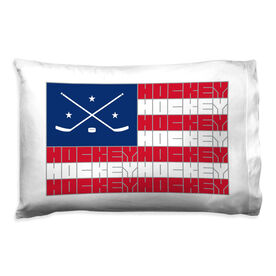 Hockey Pillowcase - American Flag Sport Word Stripes