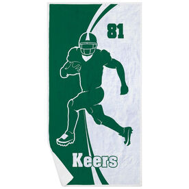 Football Premium Beach Towel - Personalized Player Silhouette