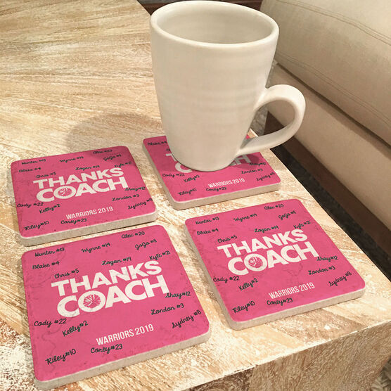 Cheerleading Stone Coasters Set of Four - Coach (Autograph)