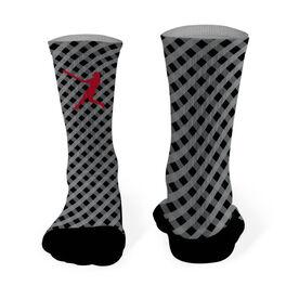 Baseball Printed Mid Calf Socks Baseball Gingham Silhouette