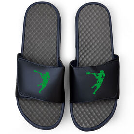 Guys Lacrosse Navy Slide Sandals - Lax Jumpshot Silhouette