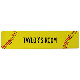 "Softball Aluminum Room Sign - Your Room Softball (4""x18"")"