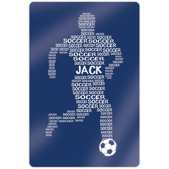 "Soccer 18"" X 12"" Aluminum Room Sign - Personalized Soccer Words Male"