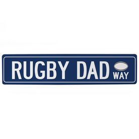 "Rugby Aluminum Room Sign - Rugby Dad Way (4""x18"")"