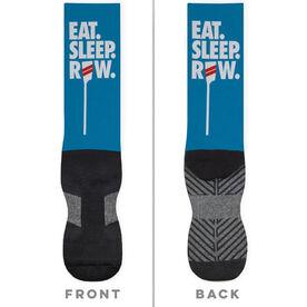 Crew Printed Mid-Calf Socks - Eat Sleep Row