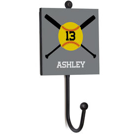Softball Medal Hook - Softball Crossed Bats With Name And Number