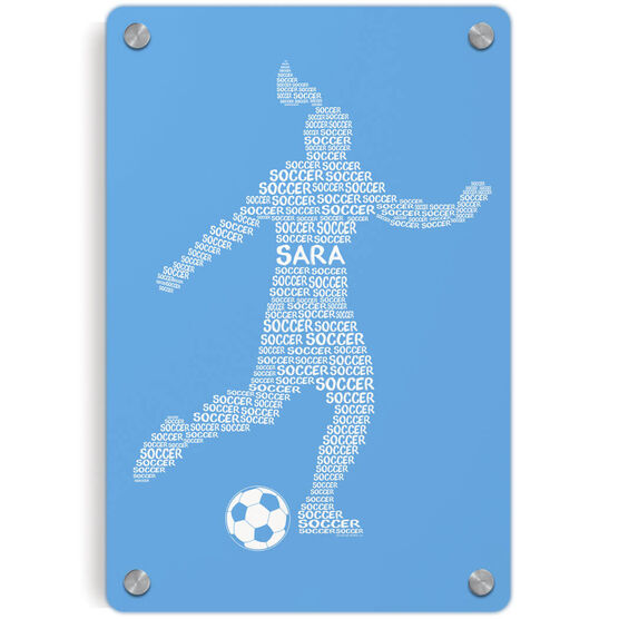Soccer Metal Wall Art Panel - Personalized Soccer Words Female