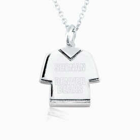 Sterling Silver Personalized Jersey Necklace Name and Team