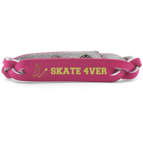 Figure Skating Leather Engraved Bracelet Your Text