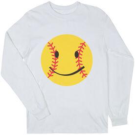 Softball T-Shirt Long Sleeve Smiley