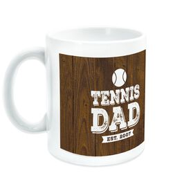 Tennis Coffee Mug Dad With Wood Background