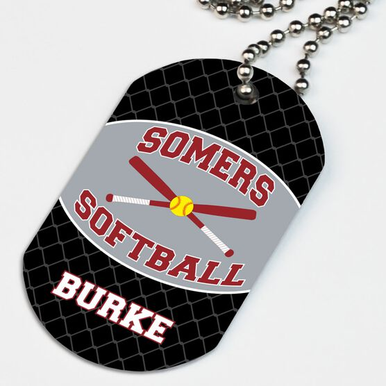 Softball Printed Dog Tag Necklace Personalized Softball Team with Crossed Bats