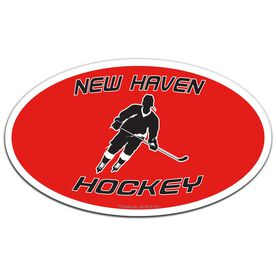 Hockey Oval Car Magnet Personalized Slanted Skater
