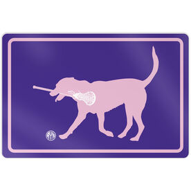 """Girls Lacrosse Aluminum Room Sign Personalized Monogram LuLa the Lax Dog (12"""" X 18"""")"""