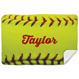 Softball Sherpa Fleece Blanket Personalized Stitches