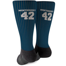 Baseball Printed Mid-Calf Socks - Pinstripes