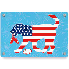 Rugby Metal Wall Art Panel - Patriotic Ray The Rugby Dog